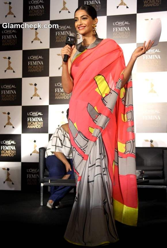 Sonam Kapoor wears Abstract-print Sari with Peter Pan collar Blouse