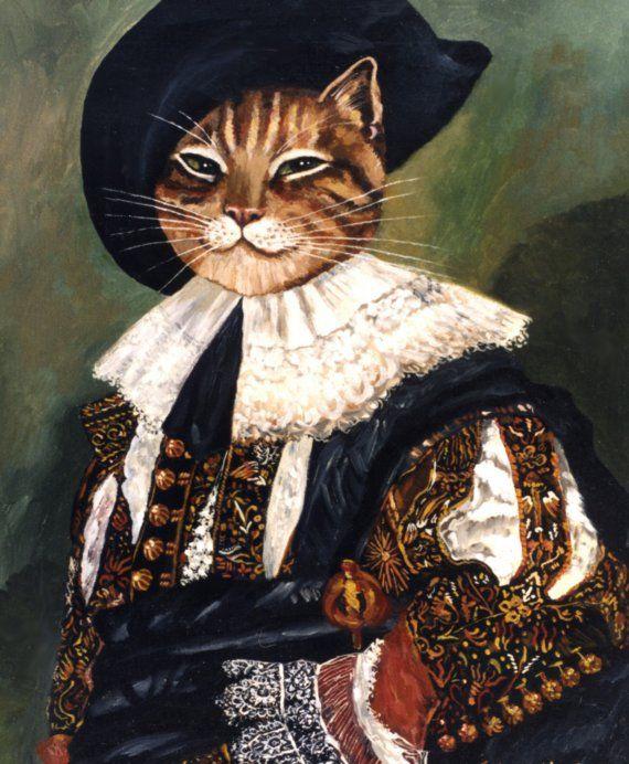 Hals cavalière chat félin Portrait riant par Nancy Weinberg peinture charme