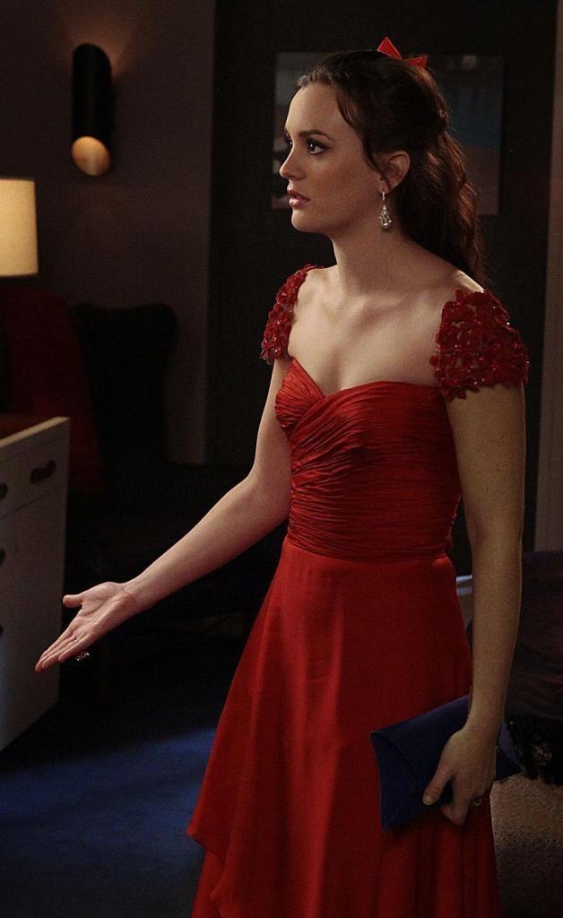 J mendel red dress gossip girl 6x07