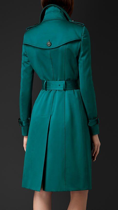 Verde azulado intenso Trench coat em cetim de algodão - Imagem 2