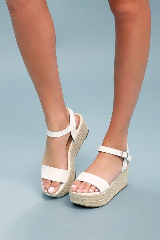 87b8d3c0d65 Corsa White Espadrille Flatform Sandals in 2019