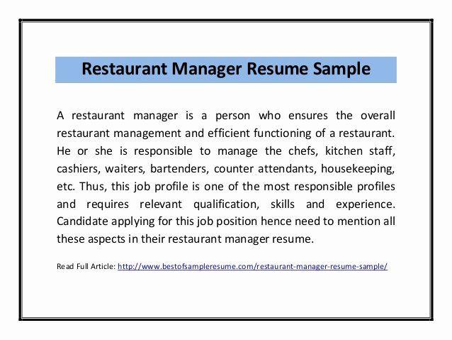 Kitchen Manager Job Description Resume New Restaurant Manager Resume Sample Pdf Resume Job Description Manager Resume