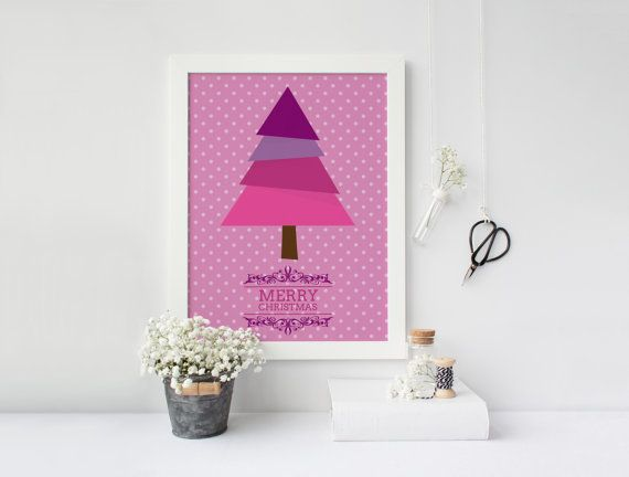 Pink and purple Christmas, Printable  poster, Holidays print, Holidays poster, Christmas poster, Christmas wall art, Instant download