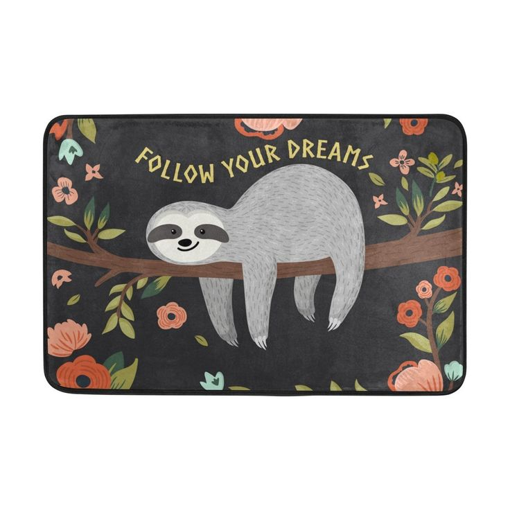 Yochoice Non-slip Door Mat Home Decor, Cute Baby Sloth Tree Floral Flowers Durable Indoor Outdoor Entrance Doormat 23.6 X 15.7 Inches *** Learn more by visiting the image link. (This is an affiliate link and I receive a commission for the sales)