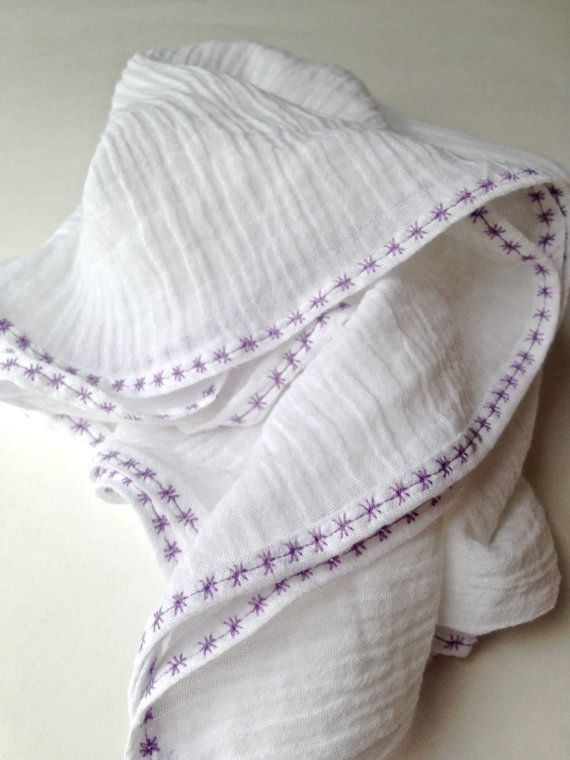 So pretty!    White Cotton Swaddle Blanket With Purple Embroidery by TheLovelyCo