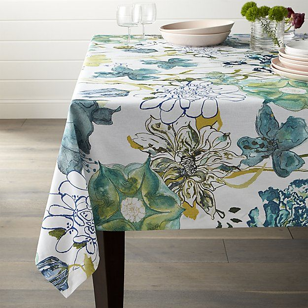 Line Drawn And Watercolor Rendered Blooms Blanket This Glorious Tablecloth  With Springtime Florals In
