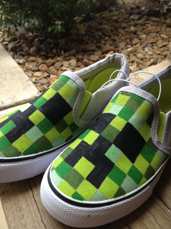 Hey, I found this really awesome Etsy listing at https://www.etsy.com/listing/179785790/hand-painted-minecraft-shoes-youth