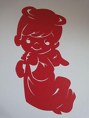 Fensterbilder Tonkarton filigran Engel Junge rot