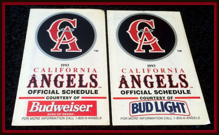 LOT OF 2 1993 CALIFORNIA ANGELS BASEBALL POCKET SCHEDULES BUD AND BUD LIGHT #Pocket #Schedule