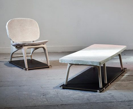 Dutch designer Dik Scheepers mixed discarded paper with cement to cast this series of furniture.: Concrete Chairs, Scheeper Concretelici, Concrete Ideas, Concretelici Designboom, Concrete Design, Dik Scheeper, Cool Furniture, Dutch Design, Concrete Furniture