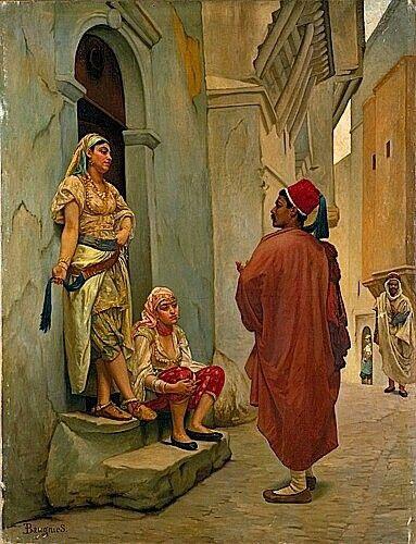 Algérie - Peintre Français Eugène Baugniès (1842-1891), Huile sur toile, Titre : La Conversation