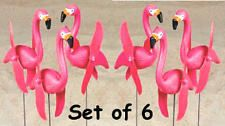 6 Pink Flamingos Twirling Spinning Lawn Ornament Art Yard Stakes