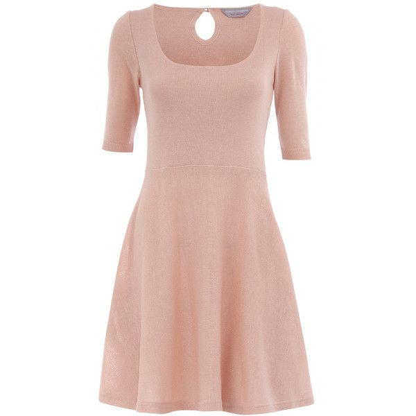 Petite camel knitted dress ($23) ❤ liked on Polyvore featuring dresses, vestidos, petite clothing, petite dresses, women's dresses & skirts, skater skirt, dorothy perkins dress, pink dress, circle skirt and pink circle skirt