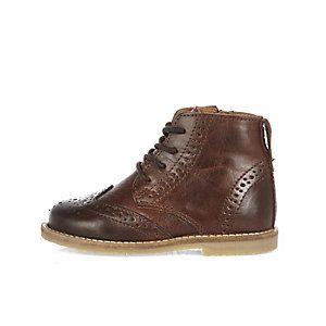 Mini boys brown lace-up brogue boots