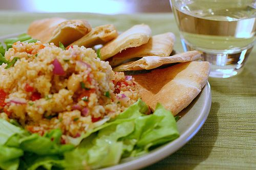 Light, healthy meal: Bulgur Salad With Chickpeas and Red Peppers.
