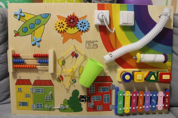 "Busy Board ""rainbow"", Activity Board, Sensory Board, Montessori educational Toy, Wooden Toy, Fine motor skills board for toddlers & babies"
