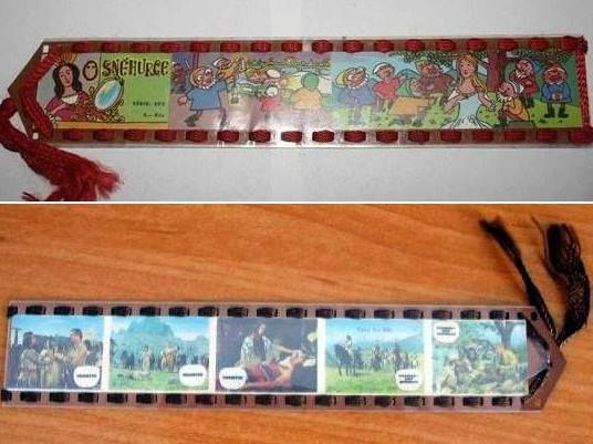 Bookmarks using blank exposed film strips.