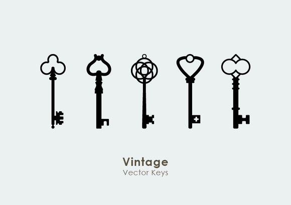 15 Vintage Retro Vector Keys by Dreamstale on Creative Market
