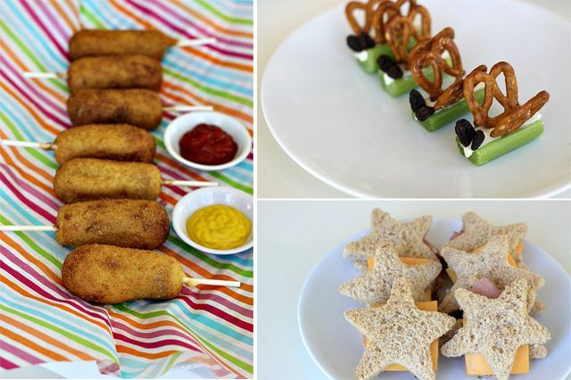 Menu ideas for kids' parties including a fruit platter, veggie cups, mini corn dogs, pizza pinwheels and more.