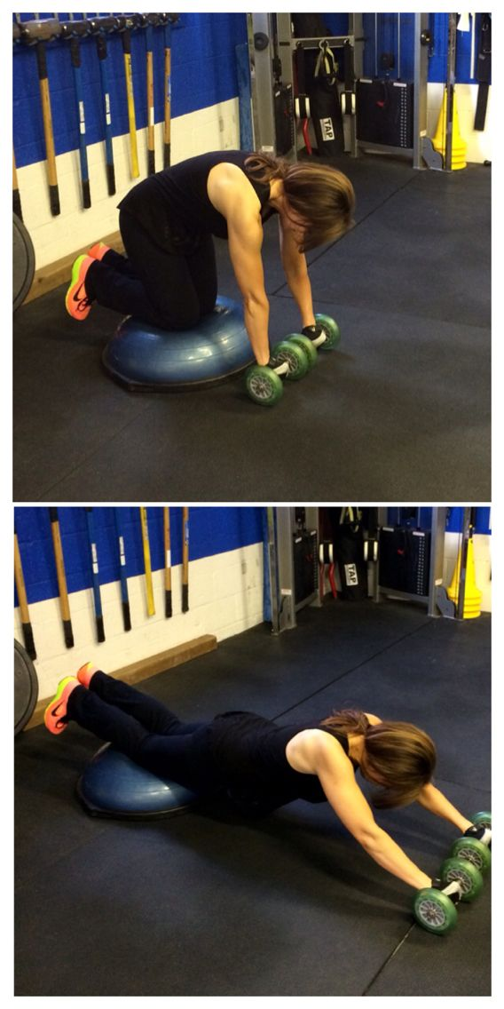 1. Knees on the Bosu, hands on the rollers, Roll out as flat as possible, come back up to the hands to the Bosu. Back up like a cat, (Hinging at the waist, tush in at the top, not leaning back with your tush back.) 1st circuit, 15 reps for each circuit, each circuit 3 times