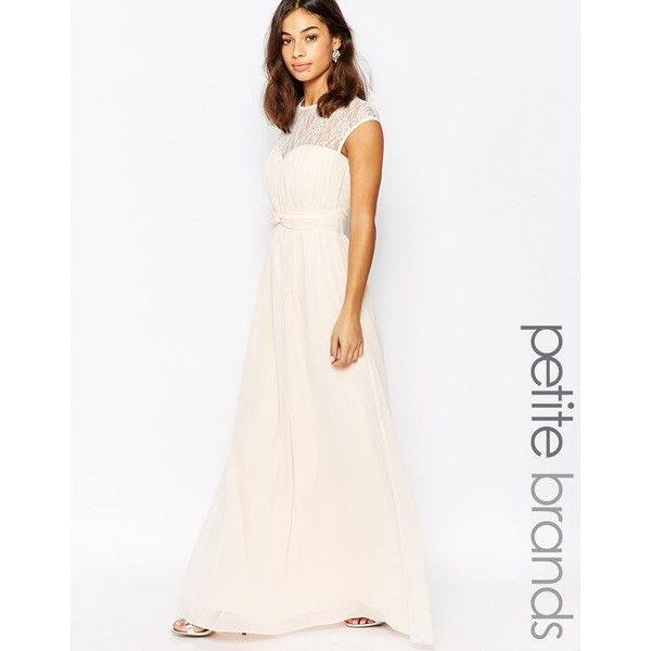 Little Mistress Petite Maxi Dress With Lace Insert ($60) ❤ liked on Polyvore featuring dresses, petite, pink, slimming dresses, white cap sleeve dress, pink dress, lace cap sleeve dress and petite maxi dresses