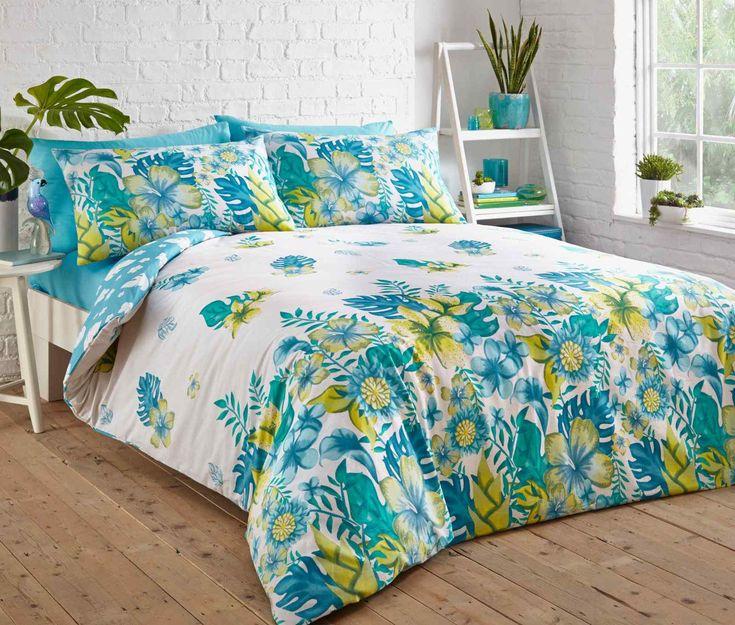 Tropical Floral Duvet Quilt Bedding Set   Teal – Linens Range
