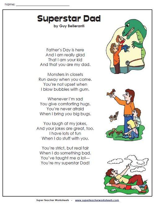 check out this superstar dad poem holidays super teacher worksheets pinterest. Black Bedroom Furniture Sets. Home Design Ideas