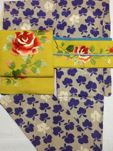 藤色の藤の花着物に薔薇の黄色い刺繍帯の春コーデ