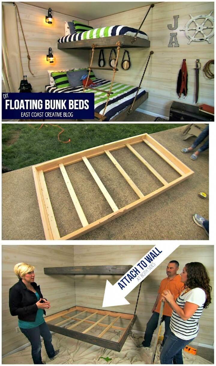 Diy kids loft bed plans  DIY Floating Bunk Bed   Low Budget DIY Bunk Bed Plans to Upgrade