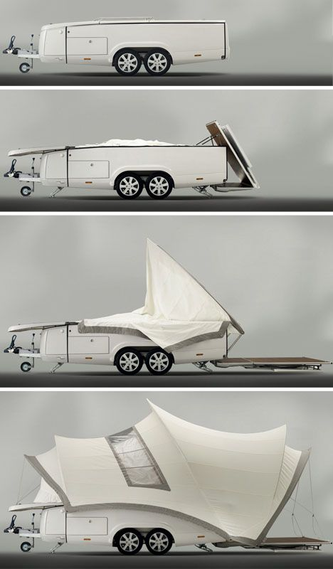 "debut of ""the Sydney"" camper - opera house inspired fold out camper design reaches prototype and marketing campaign!  Elegant design + practical function! Inspired (again)."