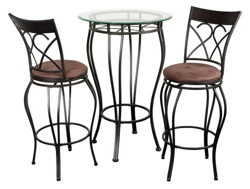 Fancy Glass Top 3 Piece Pub Table Set - Dining Table Sets at Hayneedle