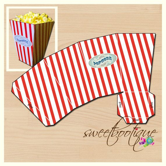 Popcorn Box - Carnival, Circus, Beach, Movie - Printable - DIY - Digital File - INSTANT DOWNLOAD on Etsy, $4.50 AUD