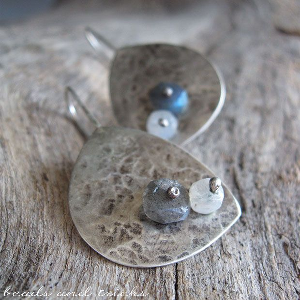 Reclaimed silver earrings, labradorite and moonstone | Handmade by Beads and Tricks