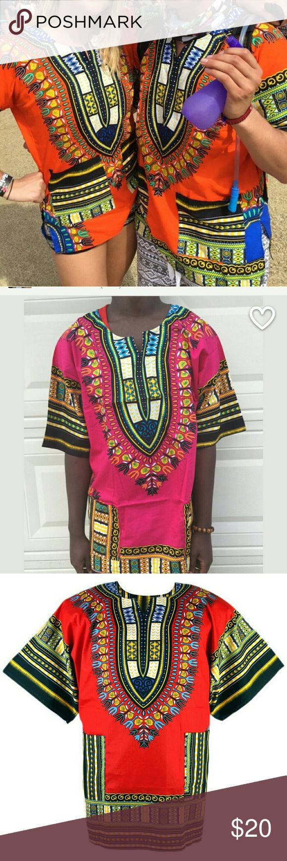 African Dashiki Shirt, Unisex, Cotton Shirt. African Dashiki Shirt.  Available colours are:       1Orange (S), 1 Pink (L), 1 Blue (L), 1Red(L),  1Green (L). Tops Blouses