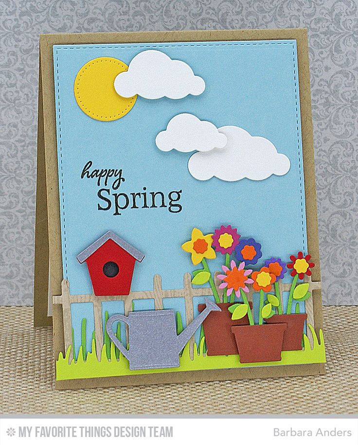 Handmade card from Barbara Anders featuring the Spring Garden and Garden Fence Die-namics.