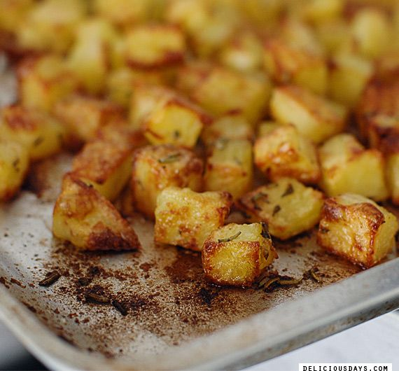 Golden crisp potato cubes . . . loved the line about spice experiments . . . plus this was posted on my birthday.  -KC