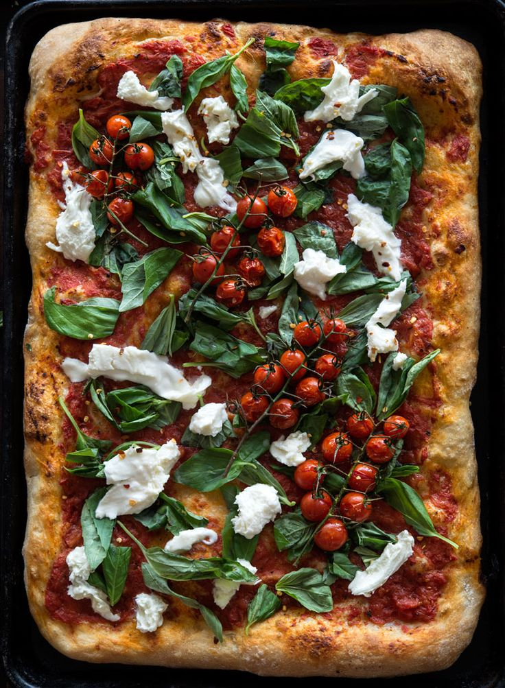 MARGHERITA PIZZA with BONCI'S ROMAN-STYLE CRUST ~~~ by this time, most pizza freaks know about and live for the crusts made by jim lahey and gabriele bonci. this blogger goes for the latter. been busy and missed the pizza crust war? the following pin provides links that will bring you up to speed https://www.pinterest.com/pin/239816748882273349/ [Italy] [wildgreensandsardines]