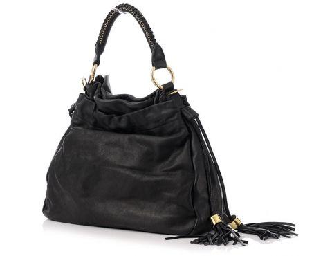 Włoska torebka skórzana czarna EXCLUSIVE