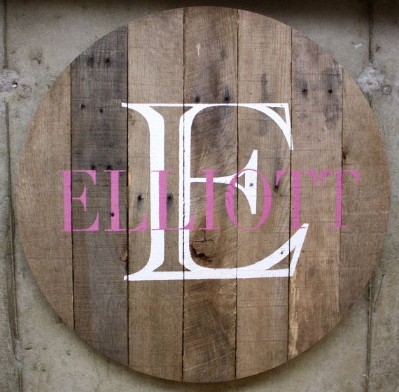 Rustic, wood, pallet wood custom signs. - In the round, custom name, monogram, established sign. Housewarming, anniversary, new baby gift...
