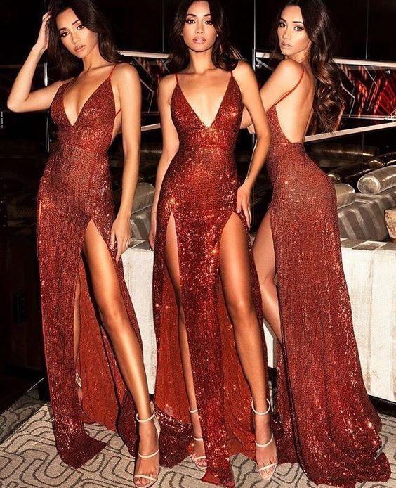 4a58d374aef Charming Burgundy V Neck Sequins Slit Backless Long Prom Dress 0902 ...