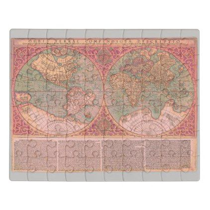Colorful Vintage Geography World Map Jigsaw Puzzle - fancy gifts cool gift ideas unique special diy customize