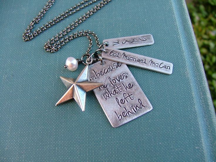 Because He Loves What He Left Behind Custom Hand Stamped USMC Army National Guard Air Force Military Wife Necklace by MyBella