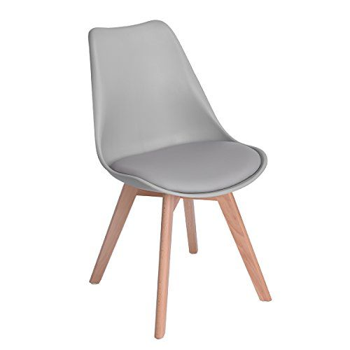 b6324a80ce9c Set of 4 Eames Style Chair Natural Wood Legs Soft Padded Cushion Seat for  Dining Room Chairs in GREY - Mid Century Design