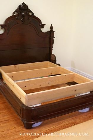 We got this fantastic, antique bed on craigslist, but it's only a full-size... see how we retrofitted it to accommodate a queen-size mattress.