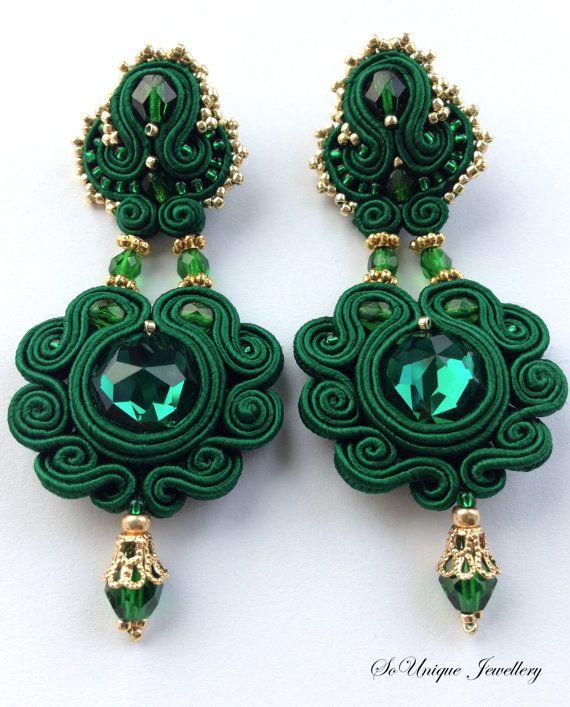 Emerald Green Soutache Earrings by SouniqueJewellery. Only £19!