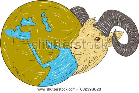 Vector Drawing sketch style illustration of a mountain goat ram head looking to the side with globe map showing middle east.   #middleeast #sketch #illustration