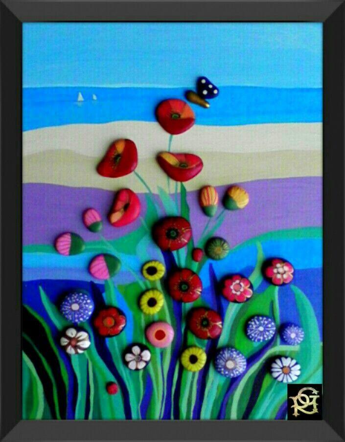 Fiori di campo-Painted Stones di Rosaria Gagliardi