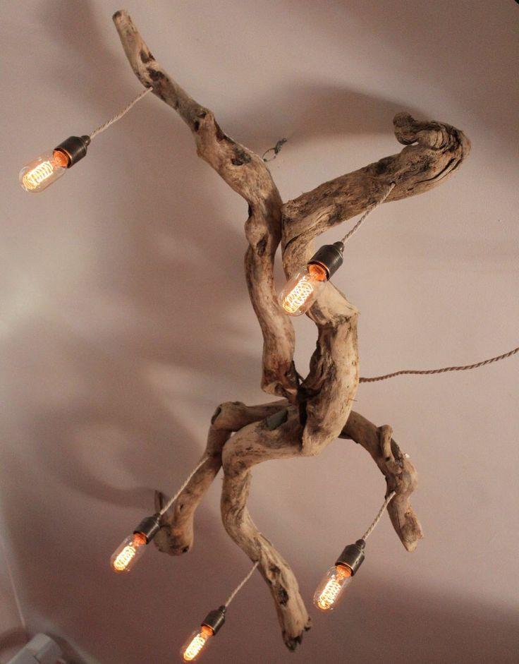 Driftwood Chandelier,Vinatge filament bulbs,Vintage filamnet pendant chandelier, Driftwood five light Fitting, Drift Wood Lighting by JuliasDriftwood on Etsy https://www.etsy.com/uk/listing/278955984/driftwood-chandeliervinatge-filament