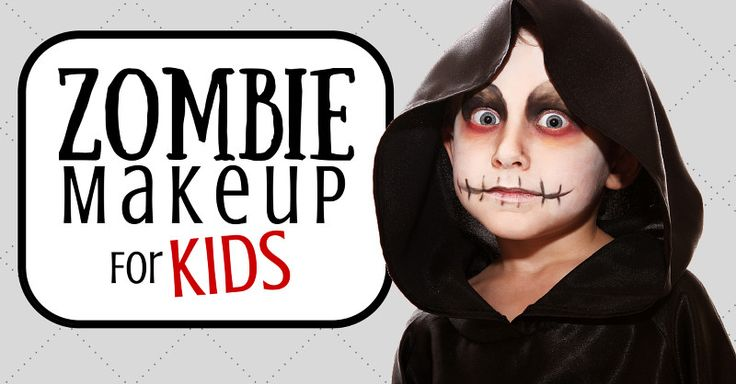 Feature graphic showing a boy dressed as a zombie next to the article title reading, Zombie Makeup For Kids