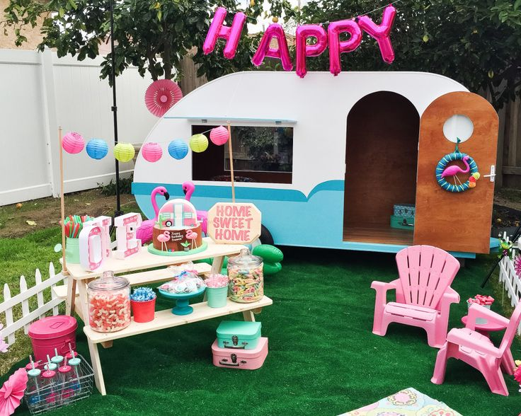 fun ideas for a birthday party at home. colorful retro camper trailer birthday party - love the flamingo decor and fun pops of pink ideas for a at home